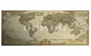 Винтидж Ретро Постер Карта на Света