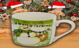 Коледна Чаша за Чай или Кафе с Лъжичка Снежен Човек