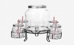 Диспенсър за Напитки с 4 Чаши Vintage Coconut