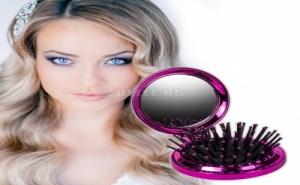 Сгъваема Четка за Коса с Огледало