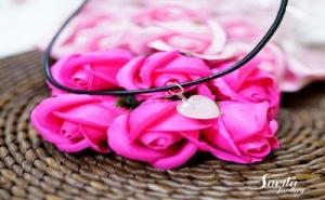 Нежно Колие с Висулка от Естествен Камък Розов Кварц Сърце