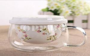 Уникална Стъклена Чаша за Чай с Керамична Цедка и Капак