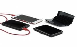 2 в 1 Алуминиев Органайзер Портмоне и Външна Батерия за Смартфон Atomic Charge Wallet