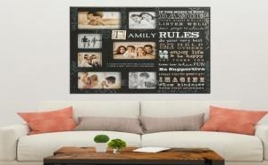 Декоративно Табло Рамка за Снимки Family Rules