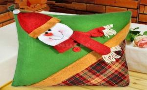 Зелена Коледна Възглавница Снежен Човек