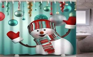 Коледна Завеса за Баня Снежен Човек