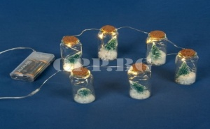 Сет от 6 Броя Коледни Лампички с Елхички