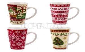 Сет от 4 Уникални Керамични Коледни Чаши (480 Мл.)