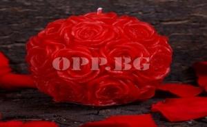 Красива Свещ Топка от Червени Рози