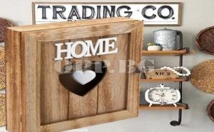 Дървена Кутия за Ключове Винтидж Стил със Сърце