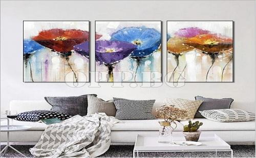 Уникална Тройна Картина Пано за Стена със Цветя