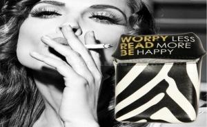 Черно Бял Калъф за Цигарена Кутия от Изкуствена Кожа Be Happy