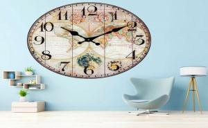 Стенен Часовник Винтидж Световна Карта