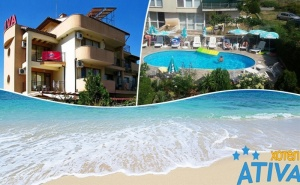 3 Нощувки на човек със Закуски, ОбедииВечери + Басейн в Хотел Атива, <em>Лозенец</em>, на 60М. от Плажа!