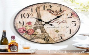 Стенен Часовник с Мотив Айфеловата Кула