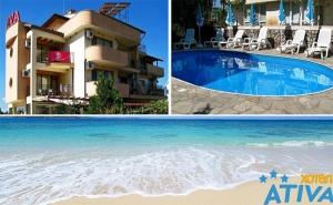 Цяло Лято в Лозенец! Нощувка със Закуска, Обяд и Вечеря + Басейн в Хотел Атива, на 5Мин. от Плажа!