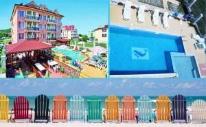 Море в <em>Обзор</em>! Нощувка със Закуска, Обяд и Вечеря + Басейн в Хотел с Вълчеви, на 100М. от Плажа!