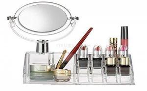 Прозрачен Козметичен Органайзер с Огледало Малък