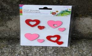 Комплект Дървени Сърца за Декорация