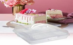 Квадратна Кутия за Съхранение на Торта с Дръжки