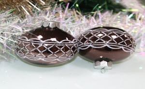 Комплект 4 Броя Изрисувани Лилави Коледни Топки
