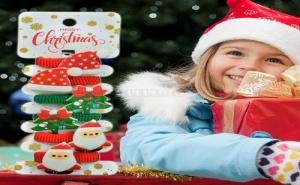 Комплект Детски Коледни Ластици за Коса Зелени