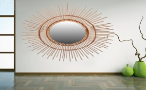 Уникално Огледало с Бамбукова Рамка