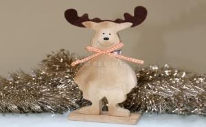 Дървено Коледно Еленче със Звънче
