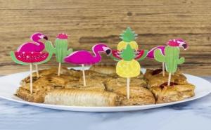 Комплект 10 Броя Парти Клечици за Хапки Фламинго