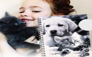 Голяма Тетрадка с Твърди Корици Кученце и Котенце