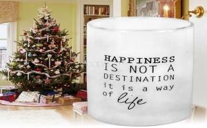 Стъкленa Поставка за Чаени Свещи Happines Is