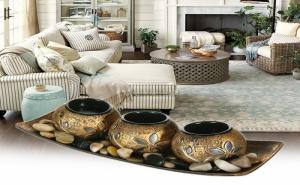 Декоративен Дървен Свещник за 3 Чаени Свещи