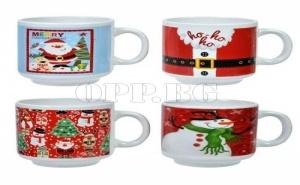 Комплект от 4 Броя Керамични Чаши за Коледа