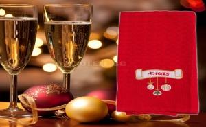 Червена Коледна Кърпа за Чаши
