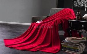 Топло Двулицево Плюшено Одеяло Бордо