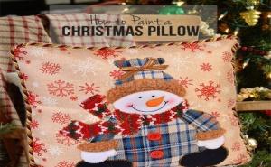 Декоративна Коледна Възглавница Снежен Човек
