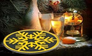 Единична Подложка за Чаши Златна Снежинка
