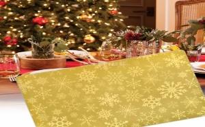 Златна Подложка за Хранене Снежинки