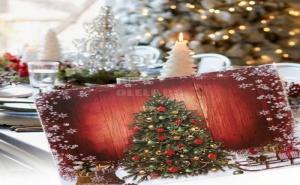 Красива Подложка за Хранене Коледна Елха