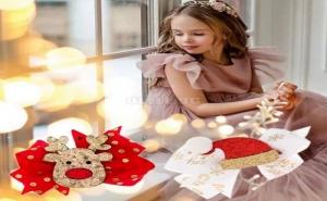 Комплект 2 Броя Сладурски Коледни Шнолки за Коса Еленче и Шапка