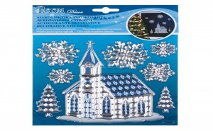 Декоративни Кристални Стикери Църква и Снежинки