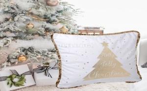Ефектна Калъфка за Възглавница с Пайети в Бяло и Златно Holly Jolly Christmas