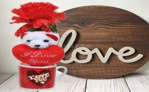 Подаръчен Комплект Мини Чашка с Плюшено Мече и Цвете I Love You