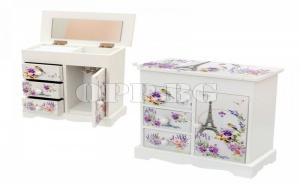 Красива Кутия за Бижута с 2 Чекмеджета и Огледало Айфелова Купа