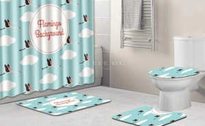 Свеж сет за баня Flamingo 12hooks Shower Curtain and 3pcs Rug