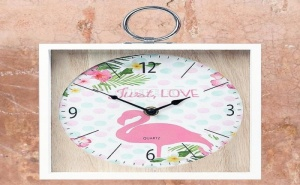 Стенен Часовник Фламинго Розов