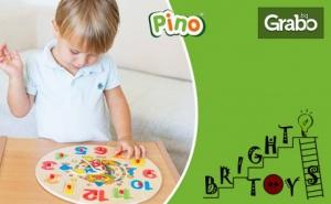 Детски Дървен Образователен Пъзел с Дръжки часовник с Клоун