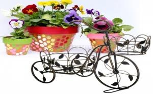 Декоративен Метален Велосипед с 2 Поставки за Саксии