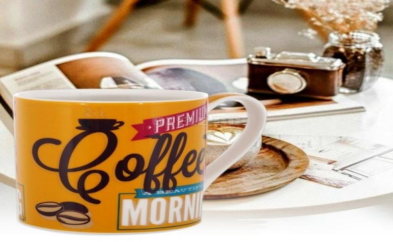 Жълта Ретро Чаша за Кафе