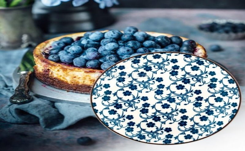 Красива Десертна Чиния Сини Цветя